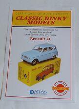 Atlas/dinky toys no 518, renault 4L, certificat d'authenticité, mint