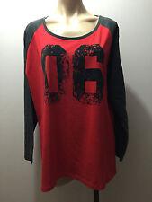 BNWT Ladies Sz 18 Grey/Red Long Sleeve Round Neck Stretch T Shirt Top