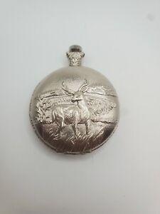 Geneva Quartz Pocket Watch with Beautiful Deer Engraving Doesn't work