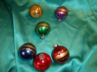 ~ 6 alte Christbaumkugeln Glas rot gold blau grün lila West Germany D.B.G.M. CBS
