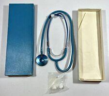 Vintage Nurses Stethoscope Anchor Hospital Supply Sapphireblue In Box