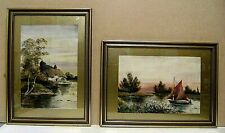circa 1950`s, pair, framed watercolours, Norfolk Broads, unsigned