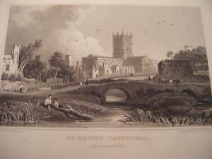 1830 Antique Print St. DAVID'S CATHEDRAL - PEMBROKESHIRE  West Wales - Gastineau
