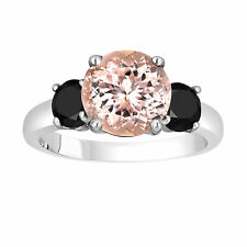 Pink Peach Morganite Three-Stone Engagement Ring 14k White Gold 2.70 Carat