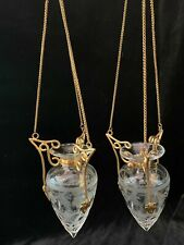Pair of Antique French Gilt Bronze & Etched Glass Hanging Bud Vases