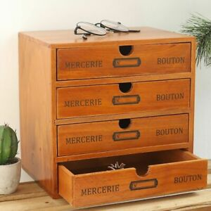 Wooden Drawer Box Storage Use for Sundries Vintage European Style Durable Firm