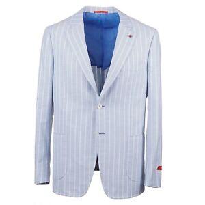 Isaia Slim-Fit 'Cortina' Sky Blue Pique Weave Cotton Sport Coat 42R (Eu 52)