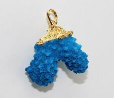 For Sale Marvelous Sky Blue Ruff Coral 24k Gold Plated Pendant Jewelry Dh-8319