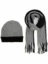 Men's Black, Grey & White 100% Acrylic Knit Scarf and Hat Set