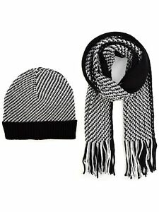 Men's Black, Grey & White Acrylic Knit Scarf and Hat Set