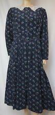 Laura Ashley Kordkleid 38 40 Millefleurs dunkelblau Samt-Cord Spitze vintage