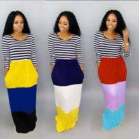 NEW Women's 3/4 Sleeves Stripes Color Patchwork Casual Loose Summer Long Dress