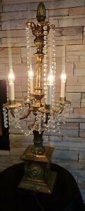 """Vtg Brass CANDELABRA TABLE LAMP W/ Crystal/s Prizms HUGE 34"""" Tested 4 Light"""