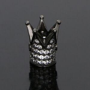 Charm Zircon Gemstones Pave King Crown Bracelet Connector Beads Silver Gold Rose