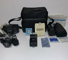 Vintage Canon AE-1 Program Camera With Bag Tokina 35mm-200mm Lens Vivitar Zoom