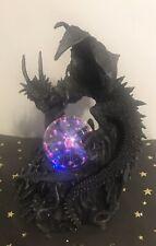 Dark Dragon Guardian With Plasma Orb Light - Plug In Lamp - Novelty