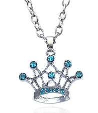 QUEEN Word Aqua Blue Crown Tiara Pendant Necklace Gift for Mom Wife n2074q