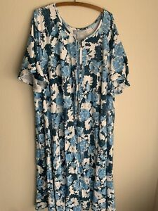 4X Only Necessities Blue Floral Nightgown Plus Size Zip House Dress Pajamas 4XL