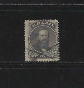 BRAZIL - #57 - 80R EMPEROR DOM PEDRO USED STAMP (1866)