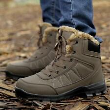 lace up Mens Winter Waterproof Warm Fur lined High Top Snow Boots #e