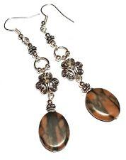 A Pair Long Jasper Silver Earrings Pierced Hooks Drop Bead Dangle Boho Hippy