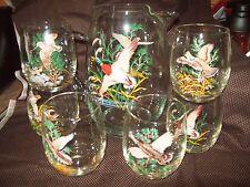 Vintage 80 oz Game Bird Decal Ice Tea Water Pitcher & Six 16 oz Glasses Tumblers