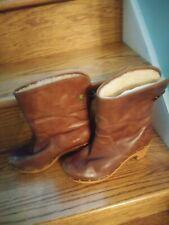 Ugg Lynnea Chestnut Leather Sheepskin Lined Clog Boots size 6.5