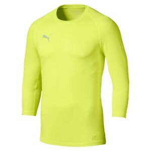Men's Puma Yellow Fitted ¾ Sleeve Sweat Top Base Layer Sweatshirt Size L