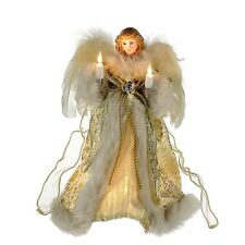 "KURT S. ADLER 10"" GOLD & IVORY 10 LIGHT ANGEL TREE TOPPER CHRISTMAS DECORATION"
