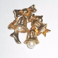 Marvella Signed Pin Brooch Gold Tone Imitation Pearl Bells Bows Holiday Vintage