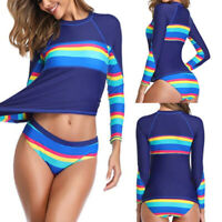 Women Long Sleeve UV Sun UPF 50+ RashGuard Top Two Piece Surfing Diving Swimsuit