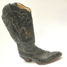 Corral Womens Sz 7.5 M Cowboy Boots Lizard Overlay Black Leather Cowgirl C2108