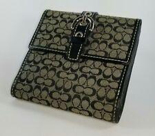 Coach Mini Signature Wallet Black/Grey with Card Slots,Change Purse, Money Slots