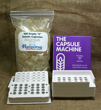 "Capsule Filling Machine Size ""0"" + 500 Gelatin Capsules - Easy to Use"