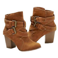 Womens Ankle Boots Mid Block Heel Buckle Ladies Lace Up Casual Work Shoes Size