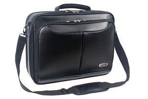 Mens Black Laptop Bag Briefcase Work Office Shoulder Bag Faux Leather 8110