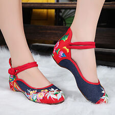 Women Elegant Party Flat Chinese Style Flower Embroidered Cloth Shoes Stylish