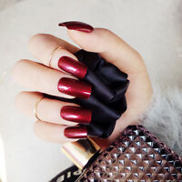 24pcs Specular Reflection Vampire Wine Red False Nails Long Nail Tips