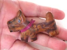 CUTEST ARTS AND CRAFTS HAND MADE LEATHER SCOTTIE DOG BROOCH