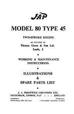 JAP Model 80 type 45 2 stroke engine instruction & parts book
