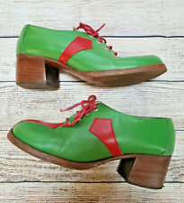 70s sz 7 True Vintage Chunky Heel Leather Green Red Mod Retro Bowling Shoes