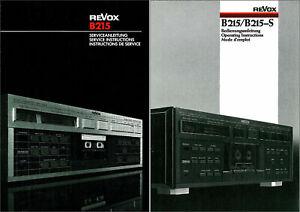Revox Studer B215 Service & Operating lnstructions B-215 B 215