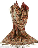 Women's Fashion Win Red Pashmina 100% Cashmere Wrap Shawl Paisley Scarf Stole
