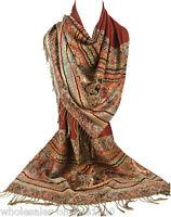 Women's Fashion Win Red Pashmina 100% Cashmere Wrap Shawl Paisley Scarf Stole