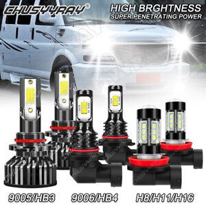 For GMC Savana 2500 1996-2015 - 6PC 6000K Combo LED Headlight Hi/Lo + Fog Light
