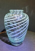Hand Blown Glass Vase With White Spiral Accent and Impressed Vertices Lines