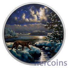 Canada 2017 Cougar Animals in Moonlight Glow in Dark $30 Pure 2 Oz Silver Coin