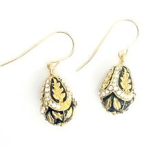"Springtime Enameled Egg Dangle Earrings - Inspired by the famous ""Fabergé"" egg"