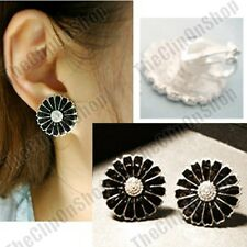 CLIP ON black enamel RETRO FLOWER sunflower EARRINGS silver tone NON-PIERCED