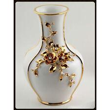 24x37,5cm Keramik Porzellan Vase Blumenvase  24K Gold Strass Handarbeit ITALY
